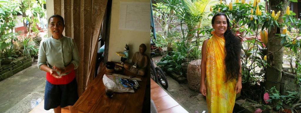 Made Ratni, ma première enseignante, avant et après avoir reçu son massage.